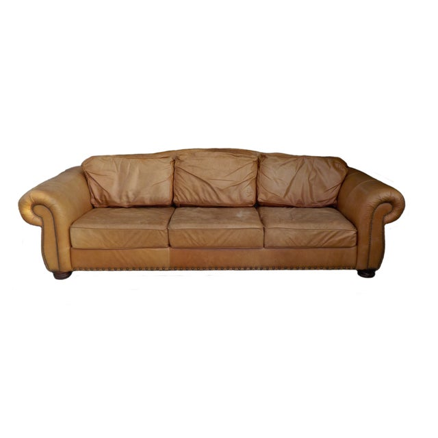 Image of Large Leather Custom Made Sofa