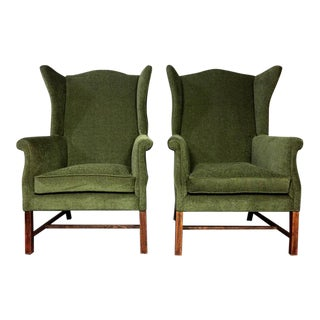 Pair 1940s English Library Wing Chairs, George III Style