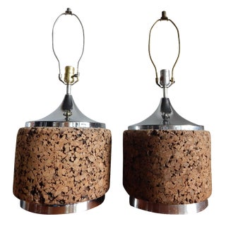Cork and Chrome Table Lamps - A Pair
