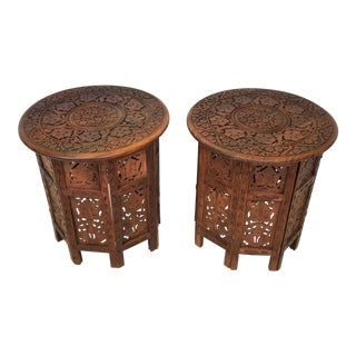Hand Carved Anglo-Indian Folding Tables - A Pair