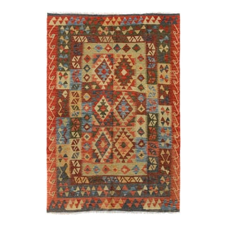 Kilim Arya Chas Red & Blue Wool Rug - 4'8 X 6'2