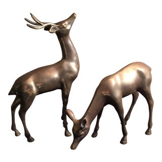Vintage Retro Brass Deers - A Pair