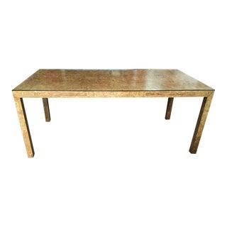 1970s Milo Baughman Burl Wood Parsons Dining Table or Partners Desk