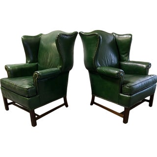 Vintage Green Leather Wingback Chairs - A Pair