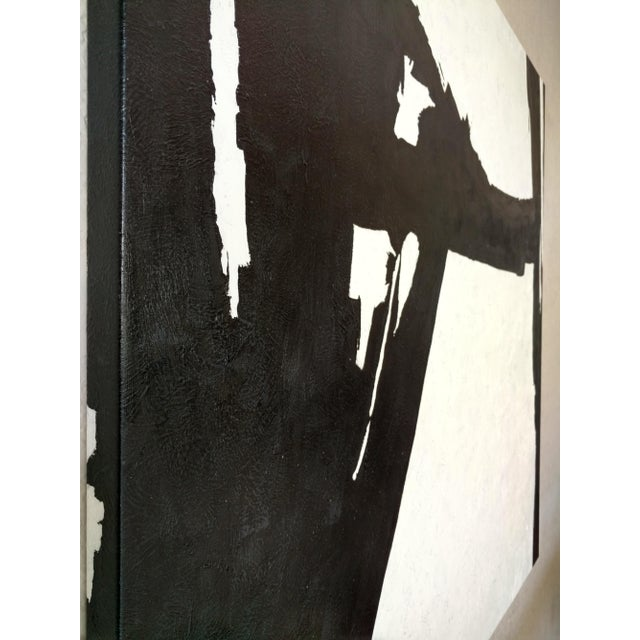 Hand Painted Large Black & White Abstract Painting - Image 5 of 11