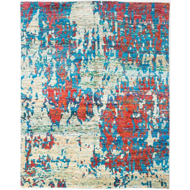 "Hand-Knotted Sari Silk Indian Rug - 8'0"" X 10'0"" - Image 1 of 2"