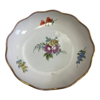Gold Rim Porcelain Floral Dish