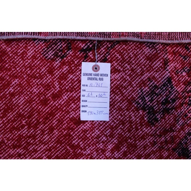 "Vintage Turkish Red Overdyed Rug - 6'2"" X 10'3"" - Image 8 of 8"