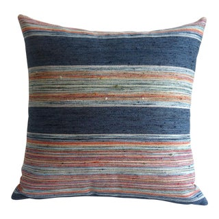 Woven Indigo Stripe Pillow Covers - A Pair
