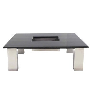 Square Granite Top Coffee Table with Center Planter