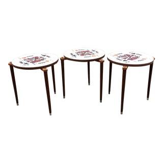 Mid-Century Poker Themed Nesting Tables - Set of 3