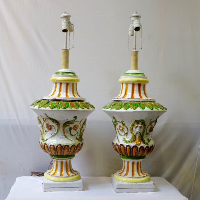 Italian Maiolica Table Lamps - A Pair - Image 4 of 9