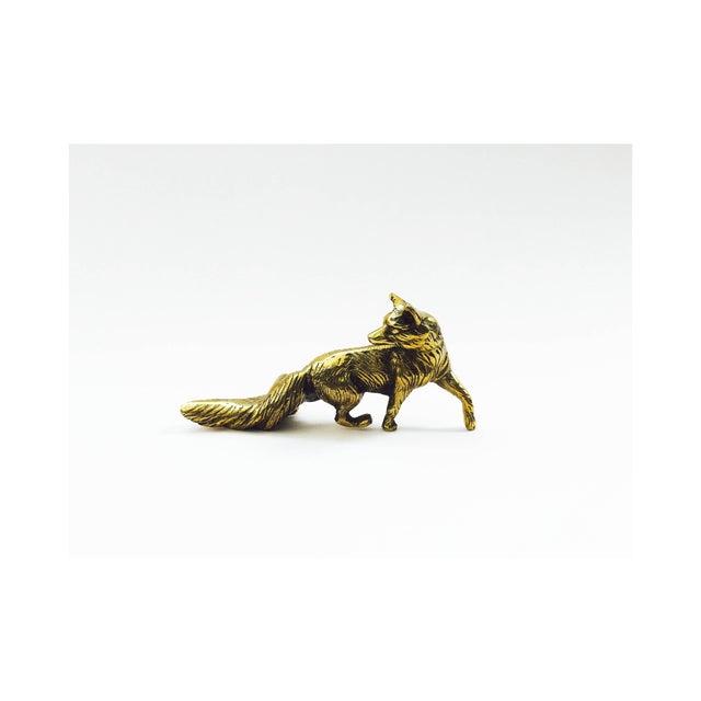Image of Vintage Brass Fox Statue
