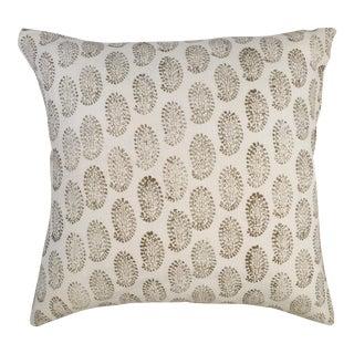 """Gold on White Paisley Print Pillow - 20"""" X 20"""""""