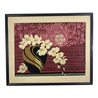 Vintage Asian Floral Long Stitch Needlepoint