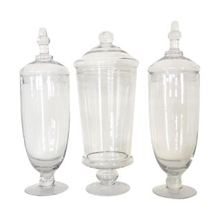 Glass Apothecary Jars - Set of 3