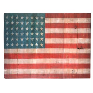 Old Wood Painted American Flag