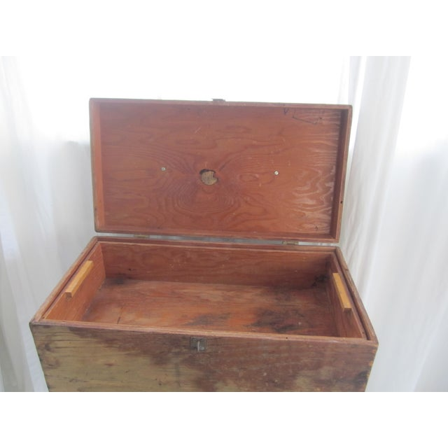 Primitive Rustic Wood Trunk Chest Crate Tool Chest - Image 7 of 11