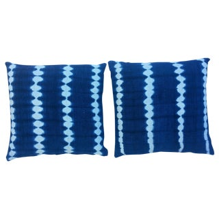 African Indigo Striped Pillows - A Pair