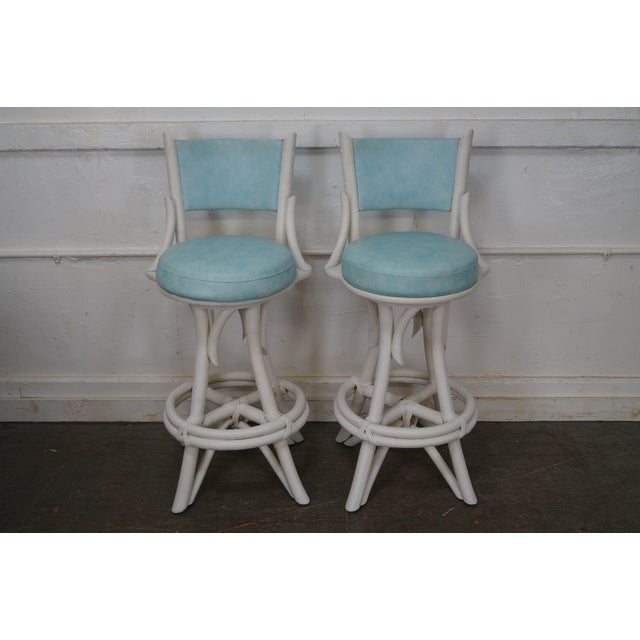 Mid Century Modern White Painted Bamboo Swivel Bar Stools