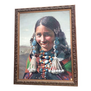 Vintage Tibetan Woman Oil Painting