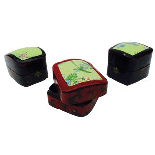 Asian Lacquer Porcelain Boxes - Set of 3