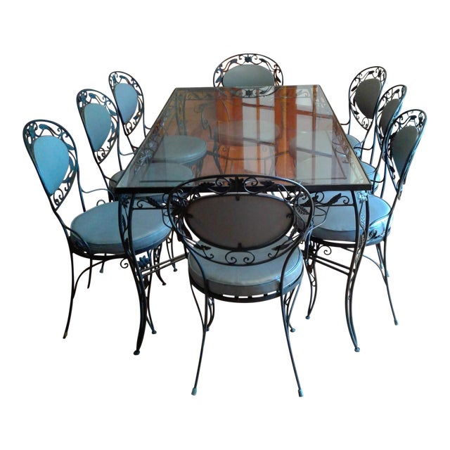 Wrought Iron And Glass Dining Room Set