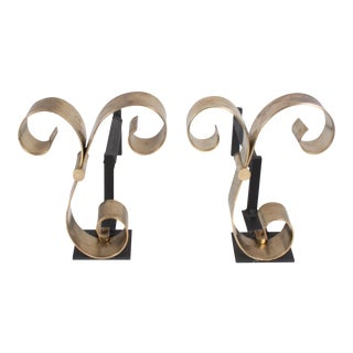 Polished Bronze Scroll Andirons, American 1940s