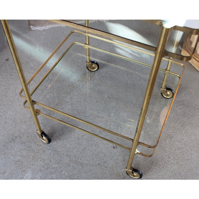 Vintage Mid-Century Brass and Glass Bar Cart - Image 7 of 9