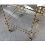 Image of Vintage Mid-Century Brass and Glass Bar Cart