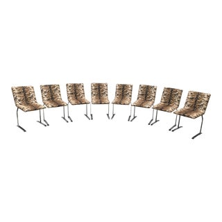 Upholstered Chrome & Tiger Fabric Chairs - Set of 8