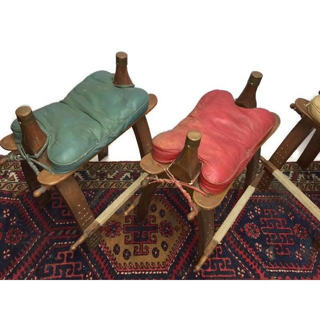 Vintage Egyptian Camel Saddle Bar Stools Set - 4 - Image 8 of 10
