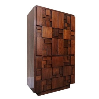 Lane Brutalist Mid-Century Walnut Armoire Dresser