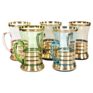 Vintage Gilded Glasses - Set of 5