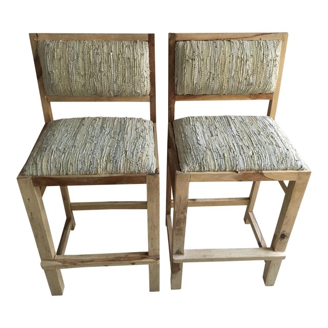 Calypso St. Barth Sandstone Woven Leather Stools - A Pair - Image 1 of 8