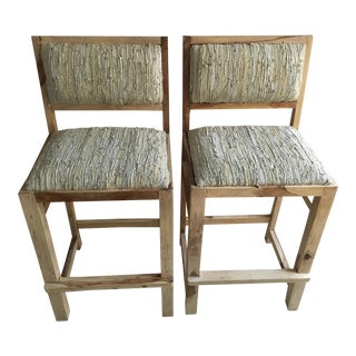 Calypso St. Barth Sandstone Woven Leather Stools - A Pair