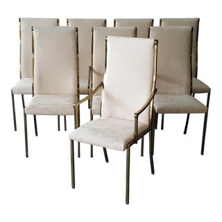 Regency Mastercraft Brass Dining Chairs - Set of 8