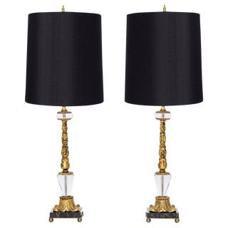Empire Glass & Marble Lamps - A Pair