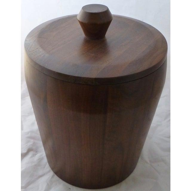 Mid Century Modern Large Walnut Ice Bucket - Image 3 of 7