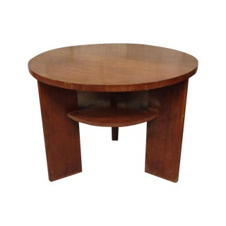 Belgian Mid-Century Round Table With Lower Shelf