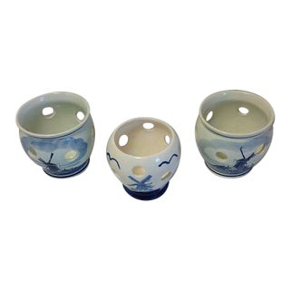Delft Blue Hand- Painted Holland Bulb Planters - Set of 3