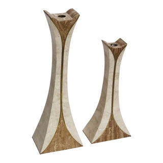 Pair of Maitland Smith Tessellated Stone Candlesticks