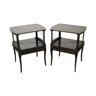 Mid Century Ebonized Chinoiserie 1 Drawer End Tables -- A Pair
