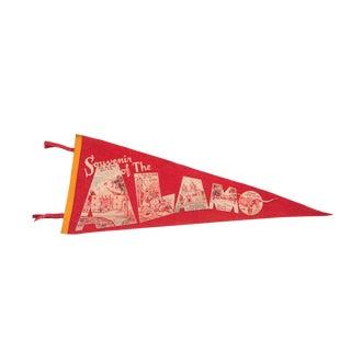 Souvenir of the Alamo with Texas Long Horn Felt Flag