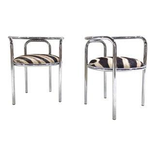 Danish Chrome & Zebra Hide Chairs - A Pair