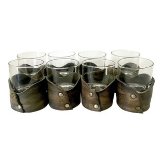 Leather Wrapped Old Fashioned Glasses - Set of 8