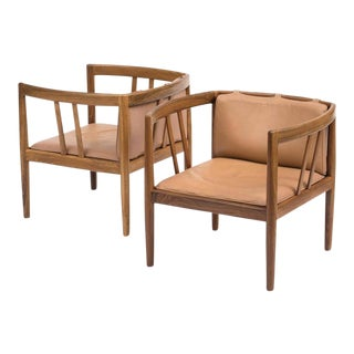 Pair of Elegant Rosewood and Leather Lounge Chairs by Illum Wikkelso, 1960s