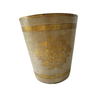 Gold and Ivory Florentine Waste Basket