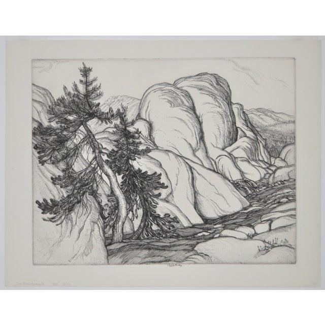 """""""Ice Worn Granite"""" Vintage Etching by Roi Partridge - Image 2 of 6"""