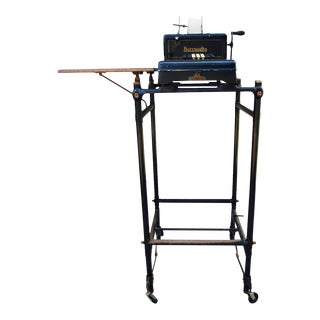 Antique Burroughs Adding Machine & Table - A Pair